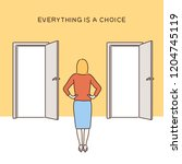 a woman is having a choice in... | Shutterstock .eps vector #1204745119