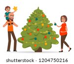 family decorates the christmas... | Shutterstock .eps vector #1204750216