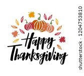 happy thanksgiving   hand drawn ... | Shutterstock .eps vector #1204753810