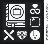 set of 6 line filled icons such ... | Shutterstock .eps vector #1204759540