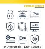 simple set of  9 outline icons... | Shutterstock .eps vector #1204760059