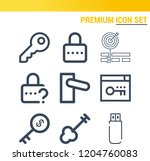 simple set of  9 outline icons... | Shutterstock .eps vector #1204760083