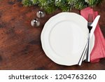 christmas table setting with... | Shutterstock . vector #1204763260