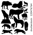 Vector Silhouettes Of Wolves