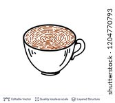 finger print in a coffee cup... | Shutterstock .eps vector #1204770793