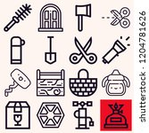 set of 16 handle outline icons...   Shutterstock .eps vector #1204781626
