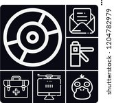 Set Of 6 Computer Outline Icon...