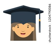 head of woman with mortarboard... | Shutterstock .eps vector #1204790086