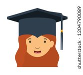 head of woman with mortarboard... | Shutterstock .eps vector #1204790089
