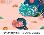 happy chinese new year style... | Shutterstock .eps vector #1204793689