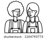 couple with overalls avatar... | Shutterstock .eps vector #1204793773