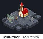 cursed church ghost monk evil... | Shutterstock . vector #1204794349