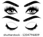 female eyes with long black...   Shutterstock .eps vector #1204796809