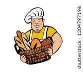 a cute smiling baker holds a... | Shutterstock .eps vector #1204797196