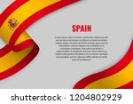 waving ribbon or banner with... | Shutterstock .eps vector #1204802929