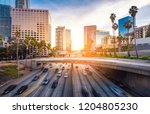 downtown los angeles traffic at ... | Shutterstock . vector #1204805230