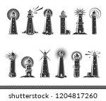 lighthouse set. vector | Shutterstock .eps vector #1204817260