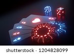 Four Aces, Casino Chips And Dices With Futuristic Glowing Neon Lights Isolated On The Black Background - 3D Illustration