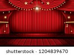 red stage curtain with seats... | Shutterstock . vector #1204839670