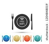 restaurant free wi fi zone icon ...   Shutterstock .eps vector #1204848019