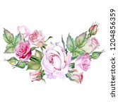 floral garland with pink roses... | Shutterstock . vector #1204856359
