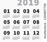 2019 wall or table calendar... | Shutterstock .eps vector #1204857730