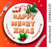 christmas plate with... | Shutterstock .eps vector #1204861120