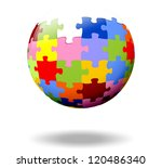 colorful puzzle pieces as a ball | Shutterstock . vector #120486340