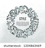hipster accessories set in line ... | Shutterstock .eps vector #1204863469