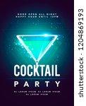 vector happy hour cocktail... | Shutterstock .eps vector #1204869193