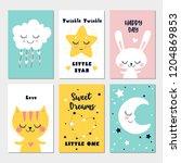 little cat  rabbit  cloud  moon ... | Shutterstock .eps vector #1204869853