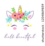 cute unicorn face in floral... | Shutterstock .eps vector #1204869859