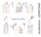 watercolor scandinavian winter... | Shutterstock . vector #1204872469