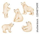 Stock photo watercolor winter christmas bears 1204872499