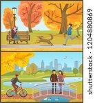 autumn park  man running with... | Shutterstock .eps vector #1204880869
