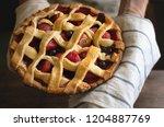 homemade mixed berry pie food... | Shutterstock . vector #1204887769