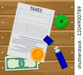crypto currency tax. finance... | Shutterstock . vector #1204900789