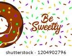 glazed doughnut pattern....   Shutterstock .eps vector #1204902796