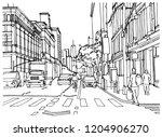scene street illustration. hand ... | Shutterstock .eps vector #1204906270