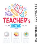happy teachers day poster with...   Shutterstock . vector #1204907653