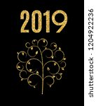 2019 happy new year and marry... | Shutterstock . vector #1204922236