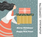 christmas card in cartoon style....   Shutterstock .eps vector #1204932796