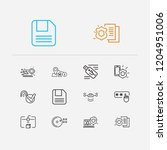 technology icons set.... | Shutterstock . vector #1204951006