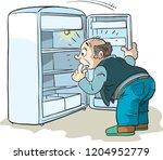 shocked man looking into empty... | Shutterstock .eps vector #1204952779