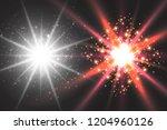 light effect glow. star flashed ... | Shutterstock .eps vector #1204960126