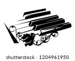 piano keyboard and rose flowers ... | Shutterstock .eps vector #1204961950