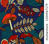 autumn forest pattern design. | Shutterstock .eps vector #1204967179