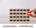 hand picked red wooden blocks... | Shutterstock . vector #1204980160