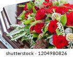 beautiful funeral wreath of... | Shutterstock . vector #1204980826