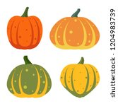 pumpkin flat icons set. sign... | Shutterstock .eps vector #1204983739